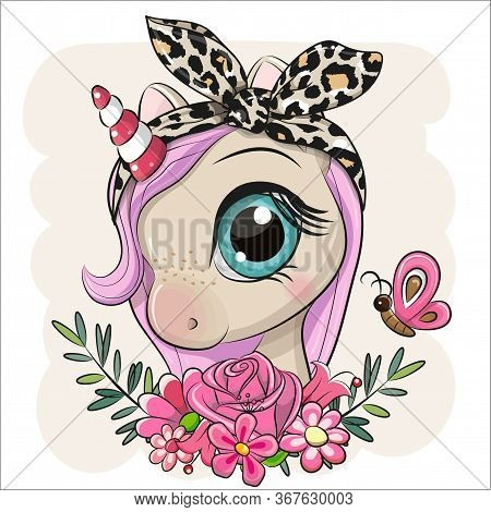 Cute Cartoon Unicorn With Flowers On A Beige Background