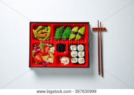 Japanese style lunch bento box with various vegeterian healthy food