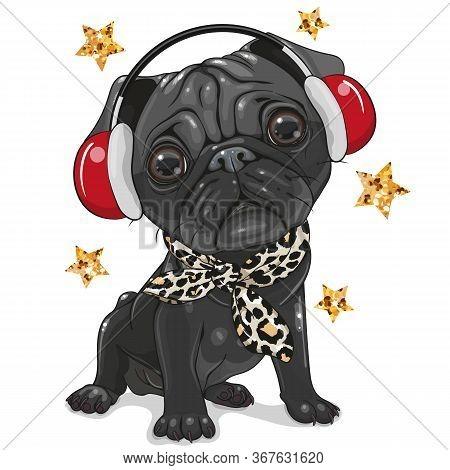 Cute Cartoon Black Pug Dog With Headphones On A White Background