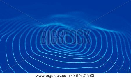 Sound Wave. Abstract Current Wave Surface Of Ring Circumferential Lines. Data Technology Illustratio