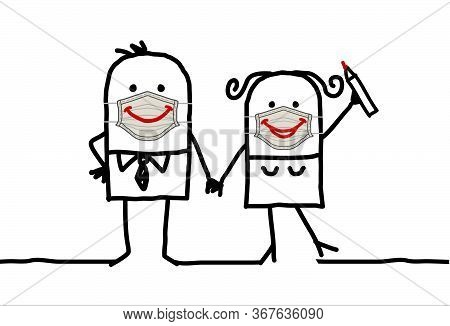 Hand Drawn Cartoon Happy Couple Wearing Hand-made Protection Masks With Big Smiles