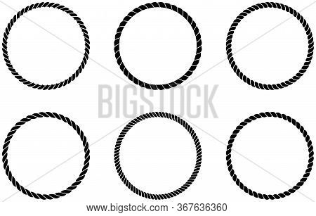 Cord Or Rope Circle Set Arrangement As Vector On An Isolated White Background.