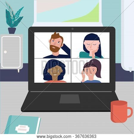 Online Meeting Via Group Call. Friends, Coleagues Talking In Video Conference Call At Office Or Home