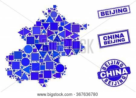 Vector Mosaic Beijing City Map. Geographic Collage In Blue Color Shades, And Corroded Round And Rect