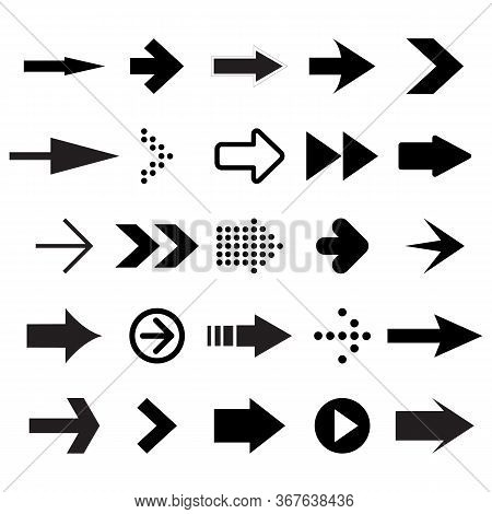 Vector Set Of Black Arrows On White Background