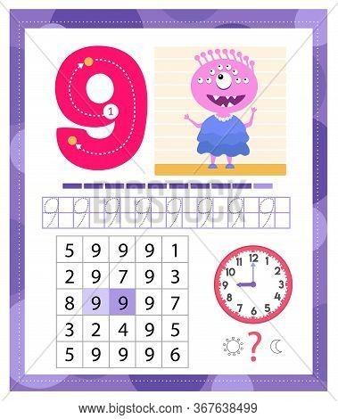 Learning Number 9 With Funny Monster. Coloring Printable Worksheet For Kindergarten And Preschool. N