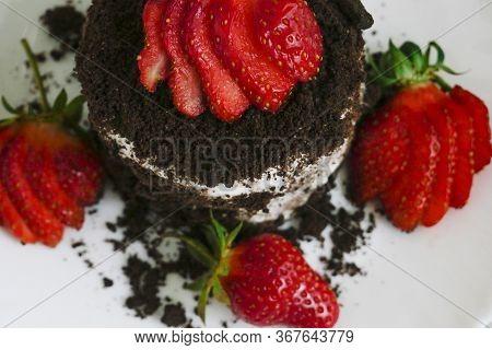 Cake Background. Close Up Of Chocolate Cake Background. Fresh Chocolate Cake Background. Background