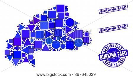 Vector Mosaic Burkina Faso Map. Geographic Scheme In Blue Color Shades, And Rubber Round And Rectang