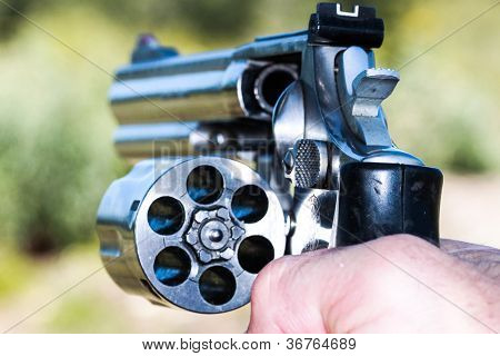 .357 Magnum with Open Cylinder in hand
