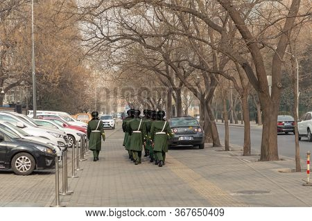 Beijing / China - January 24, 2015: A Squad Of The Chinese Peoples Armed Police Force (gendarmerie),