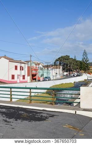 Mosteiros, Azores, Portugal - Jan 12, 2020: View Of Traditional Portuguese Village In Azores Islands