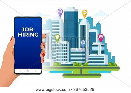 Hiring And Recruitment, Job Candidates And Job Centre Concept. Job Interview, Recruitment Agency. Hr