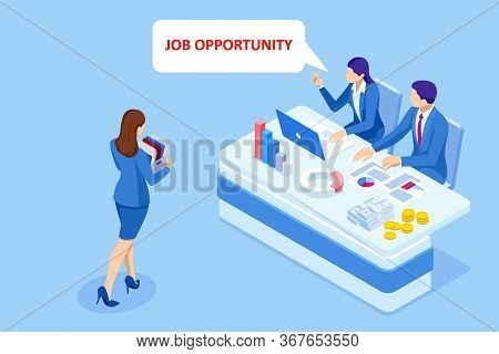 Isometric Hiring And Recruitment, Job Candidates And Job Centre Concept. Job Interview, Recruitment