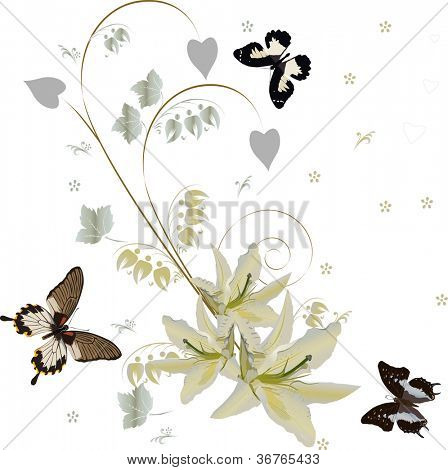 illustration with white lily corner and butterflies poster