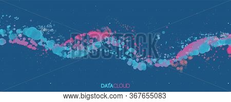 Big Data Blue Wave Visualization. Futuristic Infographic. Information Aesthetic Design. Visual Data
