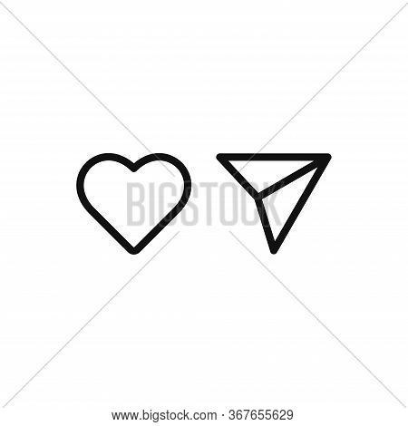 Heart And Send Icon Isolated On White Background. Heart And Send Icon In Trendy Design Style. Heart