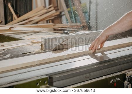 Joinery And Wood Work Concept, Professional Joiner, Carpenter Making, Sawing Furniture, Handcraft, M