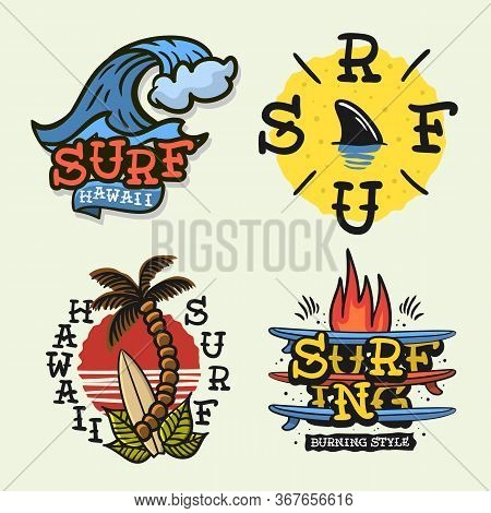 Surfing Style Surf Summer Time Beach Life Traditional Tattoo Influenced Hand Lettering Vector Illust