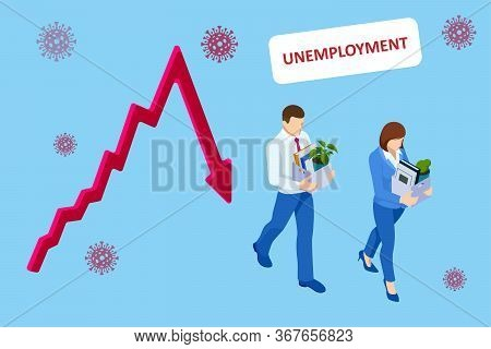 Unemployment, Loss Job, Crisis, Jobless And Employee Job Reduction. Dismissed Sad Man Carrying Box W