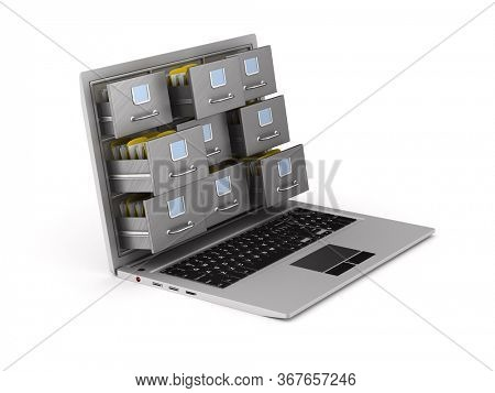 laptop with filing cabinet on white background. Isolated 3D illustration