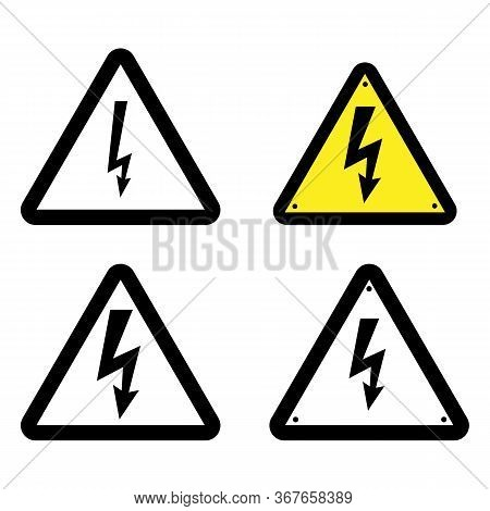 Symbol Electricity. Triangular Black Icon Of Electricity. Power Outage. Warning Logo. Caution. Vecto