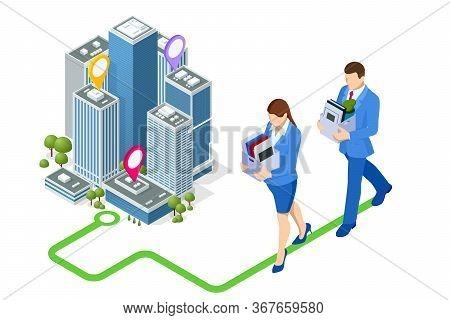 Isometric Hiring And Recruitment, Job Candidates And Job Centre Concept. Job Interview, Recruitment
