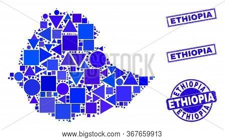 Vector Mosaic Ethiopia Map. Geographic Collage In Blue Color Tinges, And Grunge Round And Rectangle
