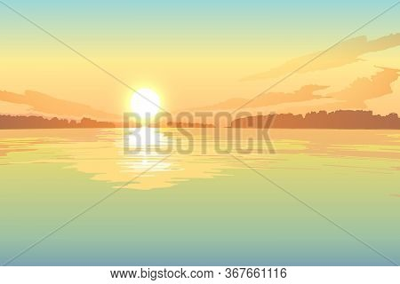 Sunset Or Sunrise On The Lake, Vector Landscape Background.