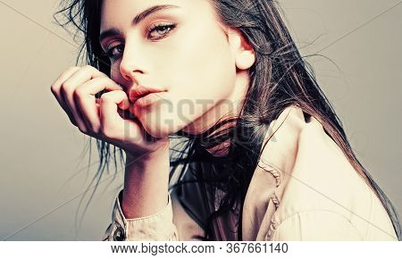 Portrait Of A Beautiful Woman In A White Blouse.cheerful Happy Young Beautiful Girl.beautiful Young