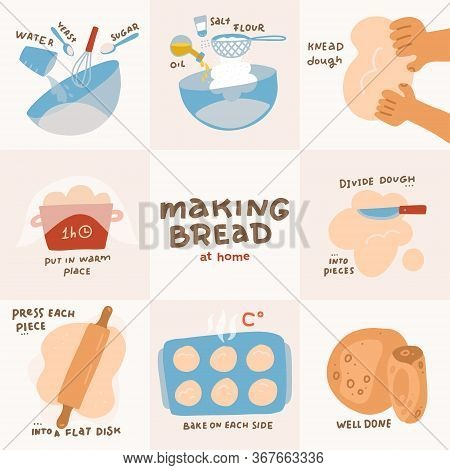 Recipe For Homemade Pita. Step By Step Instructions. Bread Recipe Infographics. Flat Vector Illustra