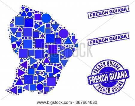 Vector Mosaic French Guiana Map. Geographic Scheme In Blue Color Shades, And Corroded Round And Rect