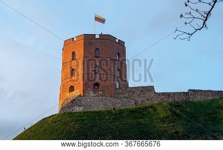 The Gediminas Castle Tower In Vilnius Lithuania.