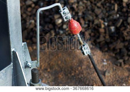 Red Spark Gap. Spark Discharger For Metal Rails. Close Up