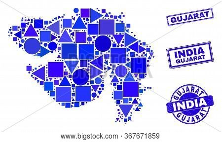 Vector Mosaic Gujarat State Map. Geographic Plan In Blue Color Tinges, And Unclean Round And Rectang