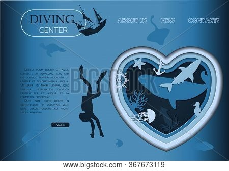 Scuba Diving, Deep Diving And Marine Life Cut Out Of Paper. Vector Underwater Seascape, Ocean Wildli
