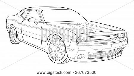 Adult Coloring Page For Book And Drawing. Concept Vector Illustration. High Speed Drive Vehicle. Gra
