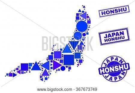 Vector Mosaic Honshu Island Map. Geographic Collage In Blue Color Shades, And Corroded Round And Rec