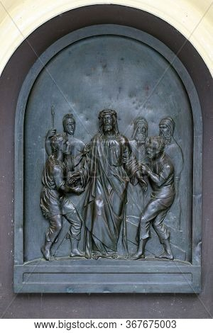 ZAGREB, CROATIA - NOVEMBER 12, 2012: 10th Stations of the Cross, Jesus is stripped of His garments, St Francis Xavier's Church in Zagreb, Croatia
