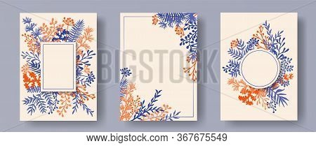 Wild Herb Twigs, Tree Branches, Flowers Floral Invitation Cards Collection. Bouquet Wreath Elegant C