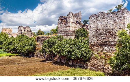 Walls Of Constantinople In Fatih District Of Istanbul, Turkey. Ancient Walls Of Constantinople Are T