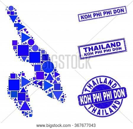 Vector Mosaic Koh Phi Don Map. Geographic Plan In Blue Color Tones, And Dirty Round And Rectangle Se