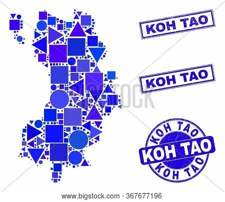 Vector Mosaic Koh Tao Map. Geographic Scheme In Blue Color Shades, And Textured Round And Rectangle