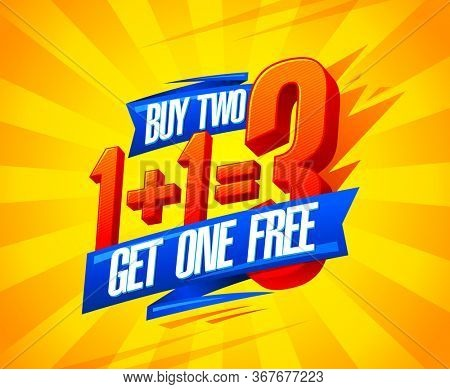 Buy two get one free sale poster design, 1+1=3 lettering, rasterized version