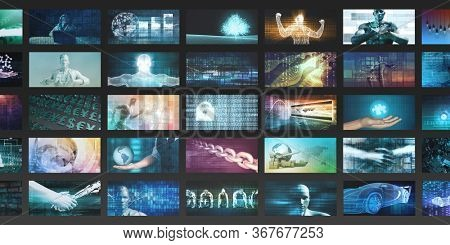 Video Wall Background as a Futuristic Concept for Entertainment 3D Render