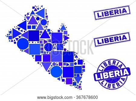 Vector Mosaic Liberia Map. Geographic Collage In Blue Color Tinges, And Unclean Round And Rectangle