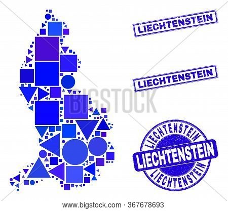 Vector Mosaic Liechtenstein Map. Geographic Collage In Blue Color Shades, And Grunge Round And Recta