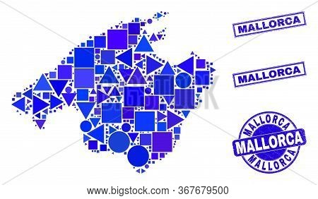 Vector Mosaic Mallorca Map. Geographic Plan In Blue Color Tones, And Scratched Round And Rectangle S