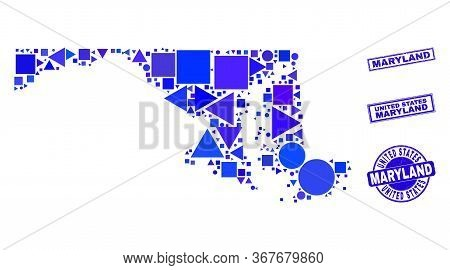 Vector Mosaic Maryland State Map. Geographic Collage In Blue Color Hues, And Textured Round And Rect