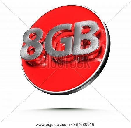 3d Illustration 8 Gigabytes Red Circles Isolated On A White Background.(with Clipping Path).