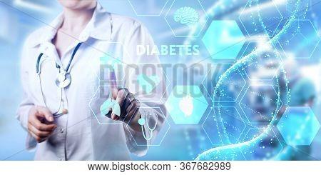 Modern Technology In Healthcare, Medical Diagnosis. Diabetes Inscription On Virtual Screen.